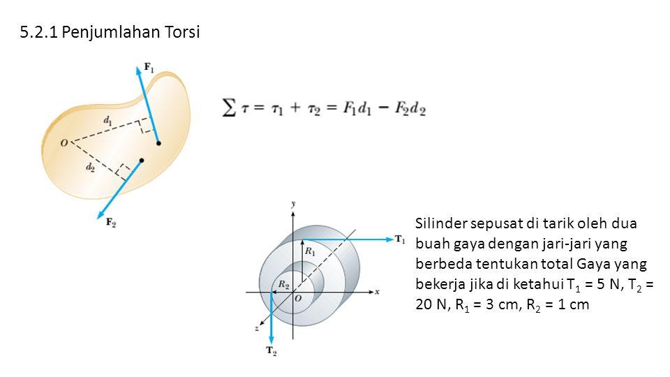 5.2.1 Penjumlahan Torsi Silinder sepusat di tarik oleh dua buah gaya dengan jari-jari yang berbeda tentukan total Gaya yang bekerja jika di ketahui T 1 = 5 N, T 2 = 20 N, R 1 = 3 cm, R 2 = 1 cm