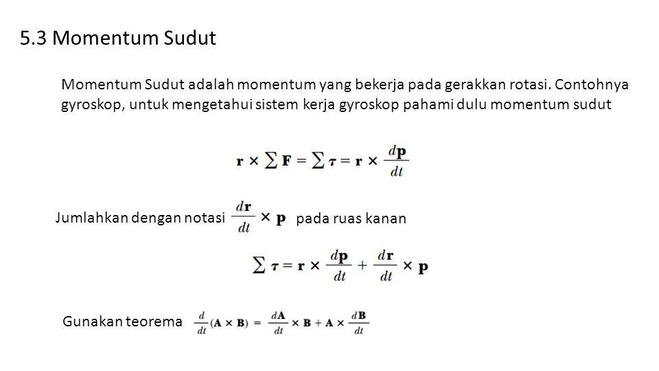 5.3 Momentum Sudut Momentum Sudut adalah momentum yang bekerja pada gerakkan rotasi. Contohnya gyroskop, untuk mengetahui sistem kerja gyroskop pahami