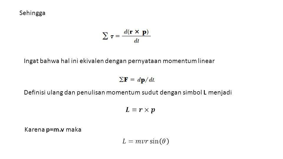 Sehingga Ingat bahwa hal ini ekivalen dengan pernyataan momentum linear Definisi ulang dan penulisan momentum sudut dengan simbol L menjadi Karena p=m.v maka