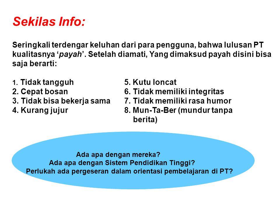 Sekilas Info: Seringkali terdengar keluhan dari para pengguna, bahwa lulusan PT kualitasnya 'payah'.