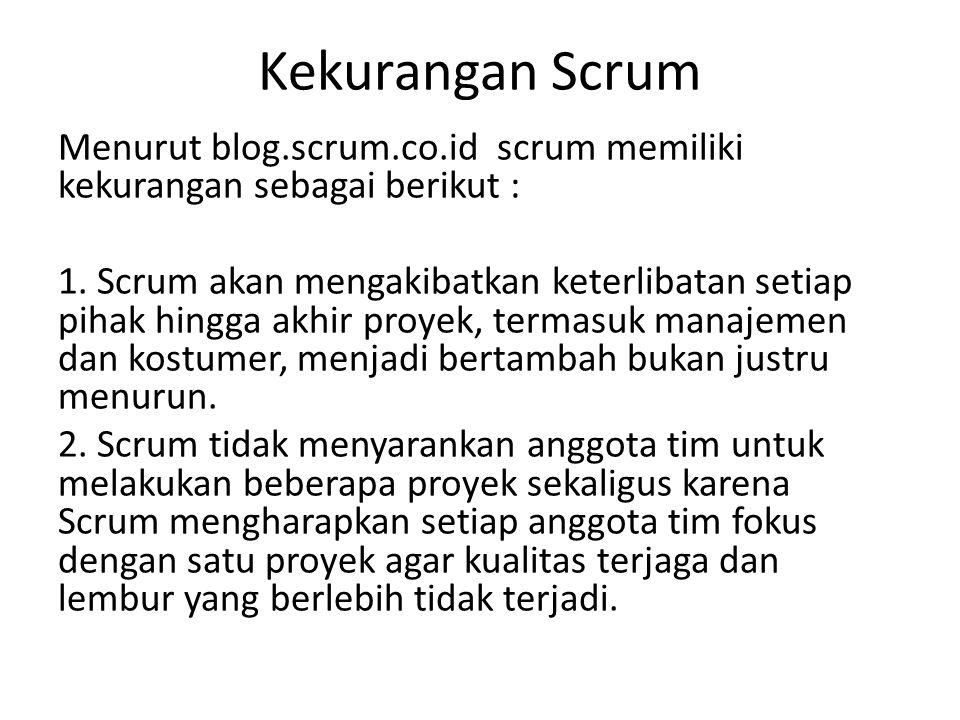 Kekurangan Scrum Menurut blog.scrum.co.id scrum memiliki kekurangan sebagai berikut : 1. Scrum akan mengakibatkan keterlibatan setiap pihak hingga akh
