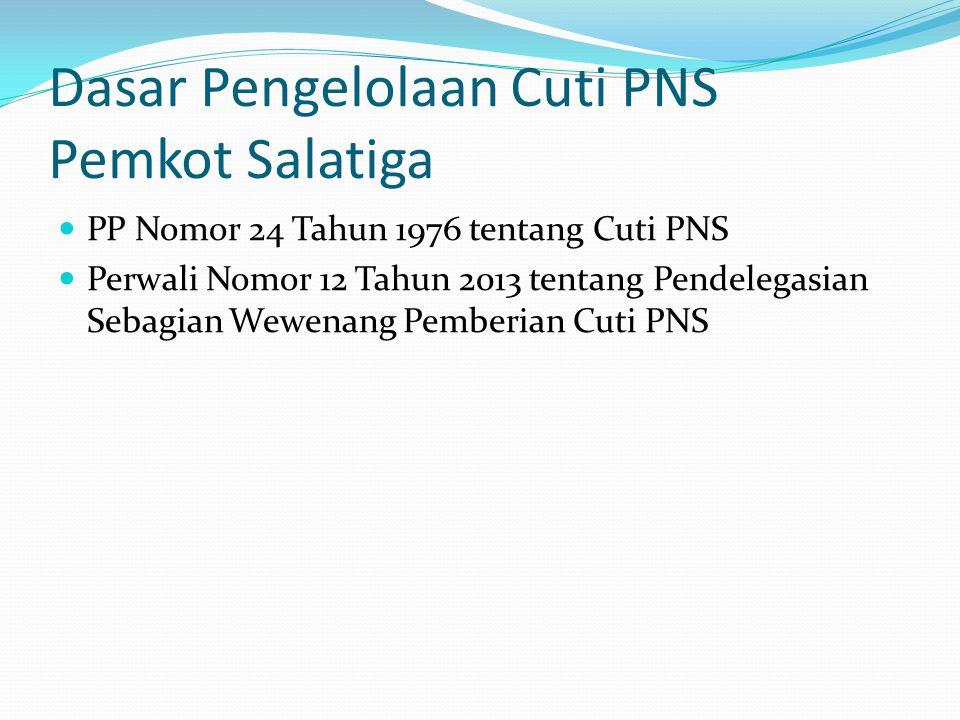 Dasar Pengelolaan Cuti PNS Pemkot Salatiga  PP Nomor 24 Tahun 1976 tentang Cuti PNS  Perwali Nomor 12 Tahun 2013 tentang Pendelegasian Sebagian Wewenang Pemberian Cuti PNS
