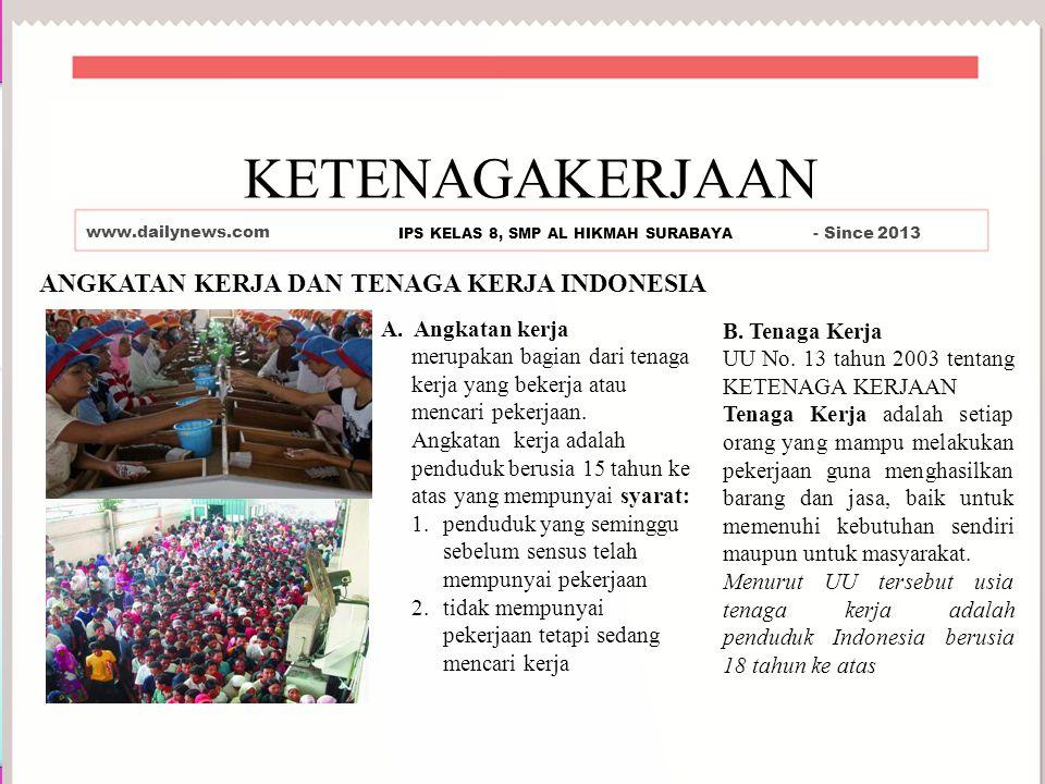 ANGKATAN KERJA DAN TENAGA KERJA INDONESIA KETENAGAKERJAAN www.dailynews.com IPS KELAS 8, SMP AL HIKMAH SURABAYA - Since 2013 A.