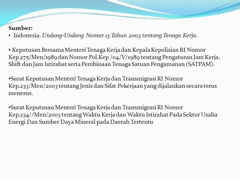 Sumber: • Indonesia. Undang-Undang Nomor 13 Tahun 2003 tentang Tenaga Kerja. • Keputusan Bersama Menteri Tenaga Kerja dan Kepala Kepolisian RI Nomor K