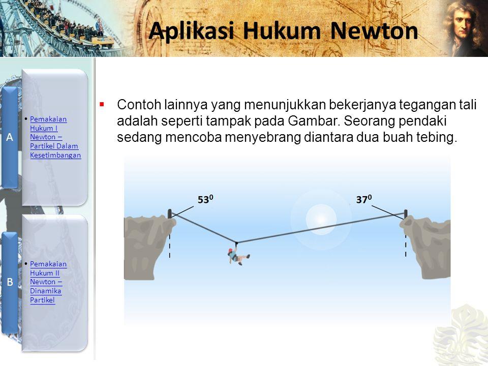Mesin Kalor, Entropi, dan Hukum 2 Termodinamika Aplikasi Hukum Newton  Contoh lainnya yang menunjukkan bekerjanya tegangan tali adalah seperti tampak pada Gambar.