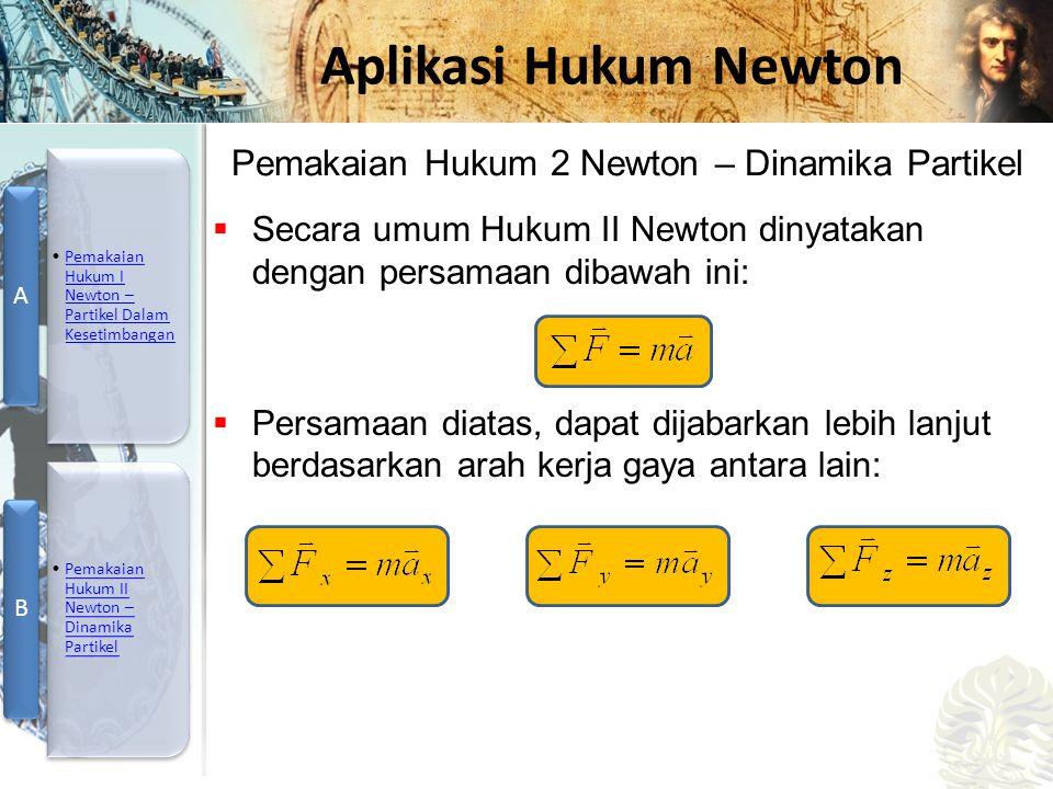 Mesin Kalor, Entropi, dan Hukum 2 Termodinamika Aplikasi Hukum Newton  Secara umum Hukum II Newton dinyatakan dengan persamaan dibawah ini:  Persama