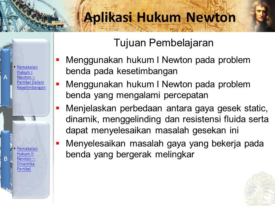 Mesin Kalor, Entropi, dan Hukum 2 Termodinamika Aplikasi Hukum Newton  Menggunakan hukum I Newton pada problem benda pada kesetimbangan  Menggunakan