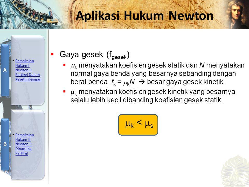 Mesin Kalor, Entropi, dan Hukum 2 Termodinamika Aplikasi Hukum Newton  Gaya gesek (f gesek )   s menyatakan koefisien gesek statik dan N menyatakan