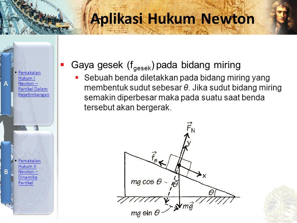 Mesin Kalor, Entropi, dan Hukum 2 Termodinamika Aplikasi Hukum Newton  Gaya gesek (f gesek ) pada bidang miring  Sebuah benda diletakkan pada bidang miring yang membentuk sudut sebesar θ.