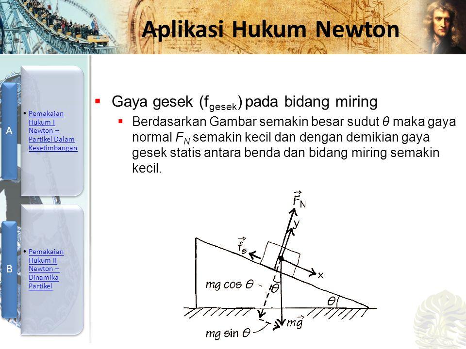 Mesin Kalor, Entropi, dan Hukum 2 Termodinamika Aplikasi Hukum Newton  Gaya gesek (f gesek ) pada bidang miring  Berdasarkan Gambar semakin besar su