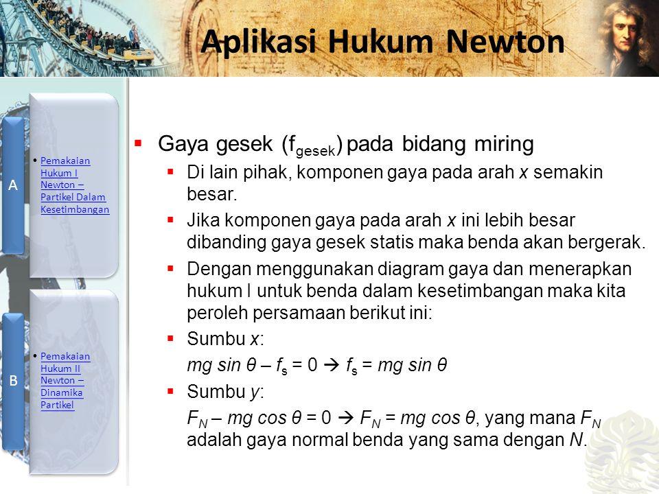 Mesin Kalor, Entropi, dan Hukum 2 Termodinamika Aplikasi Hukum Newton  Gaya gesek (f gesek ) pada bidang miring  Di lain pihak, komponen gaya pada a