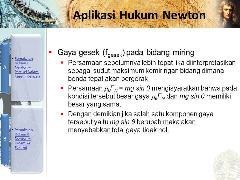 Mesin Kalor, Entropi, dan Hukum 2 Termodinamika Aplikasi Hukum Newton  Gaya gesek (f gesek ) pada bidang miring  Persamaan sebelumnya lebih tepat ji