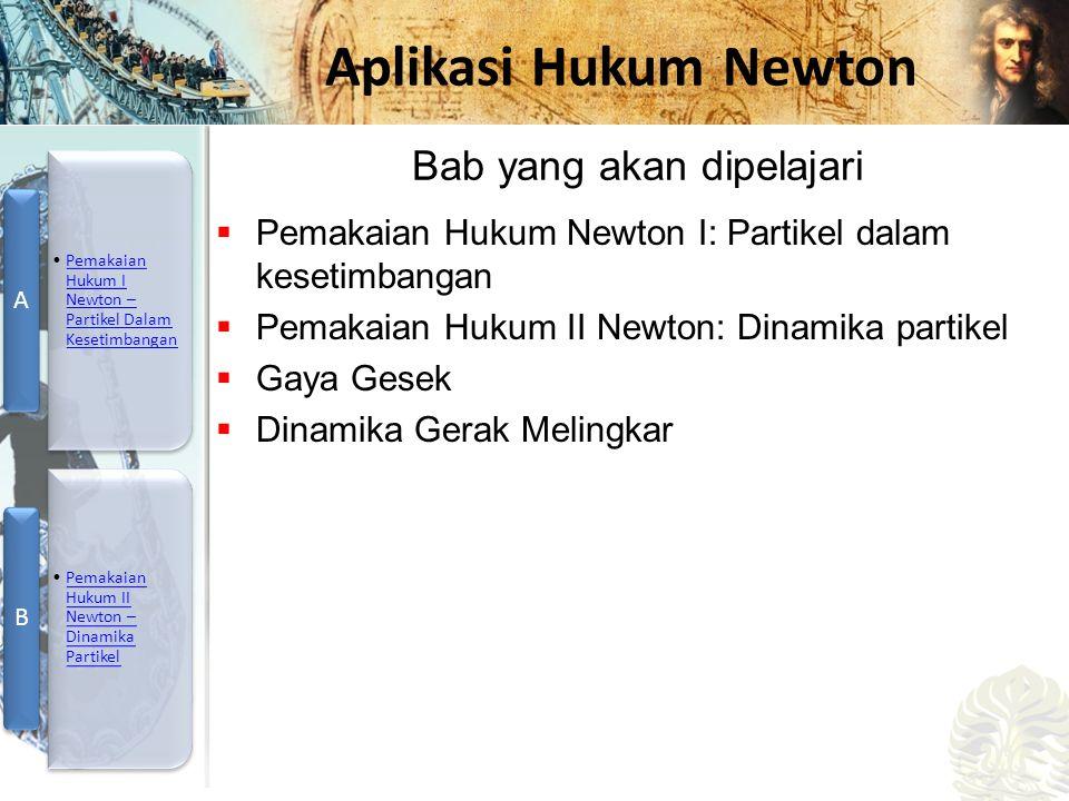 Mesin Kalor, Entropi, dan Hukum 2 Termodinamika Aplikasi Hukum Newton  Pemakaian Hukum Newton I: Partikel dalam kesetimbangan  Pemakaian Hukum II Newton: Dinamika partikel  Gaya Gesek  Dinamika Gerak Melingkar Bab yang akan dipelajari