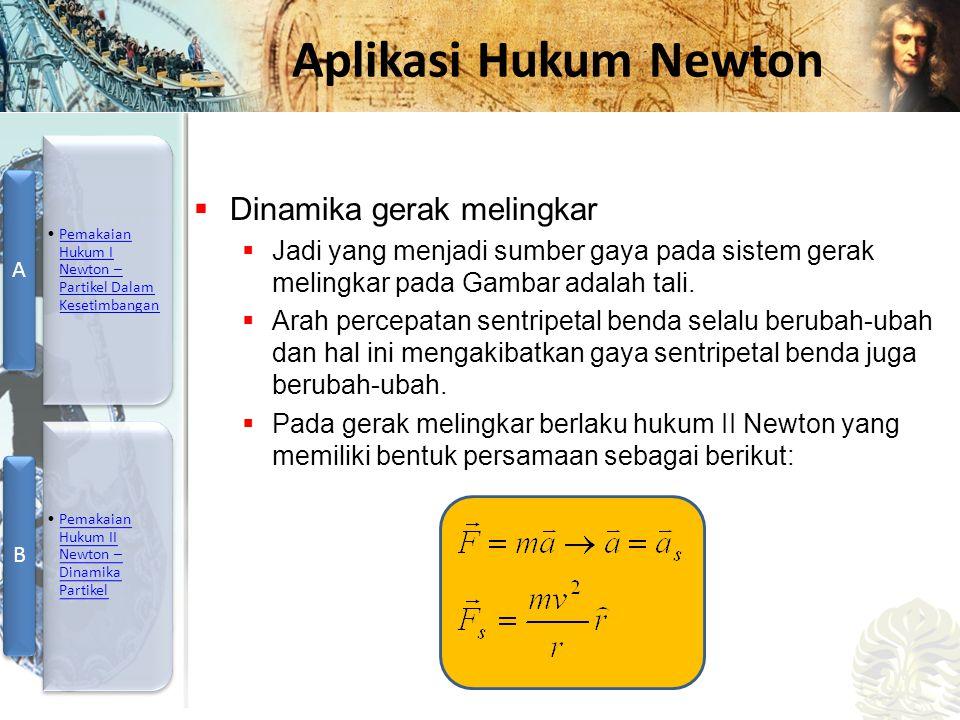 Mesin Kalor, Entropi, dan Hukum 2 Termodinamika Aplikasi Hukum Newton  Dinamika gerak melingkar  Jadi yang menjadi sumber gaya pada sistem gerak mel