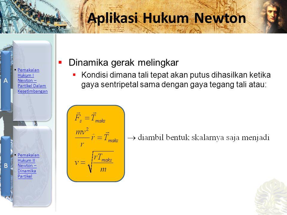 Mesin Kalor, Entropi, dan Hukum 2 Termodinamika Aplikasi Hukum Newton  Dinamika gerak melingkar  Kondisi dimana tali tepat akan putus dihasilkan ket