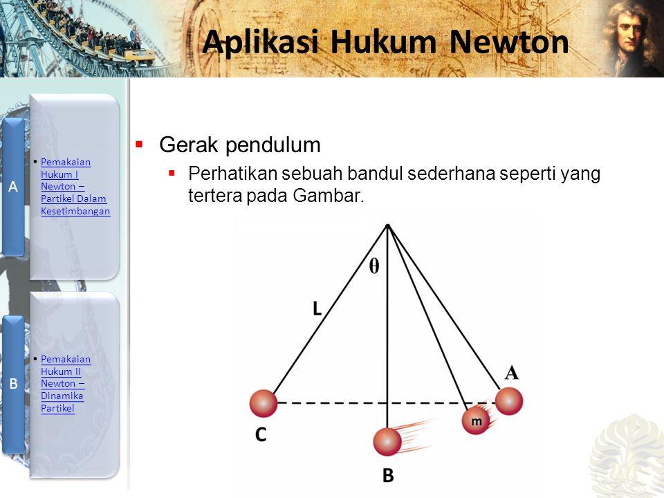 Mesin Kalor, Entropi, dan Hukum 2 Termodinamika Aplikasi Hukum Newton  Gerak pendulum  Perhatikan sebuah bandul sederhana seperti yang tertera pada Gambar.