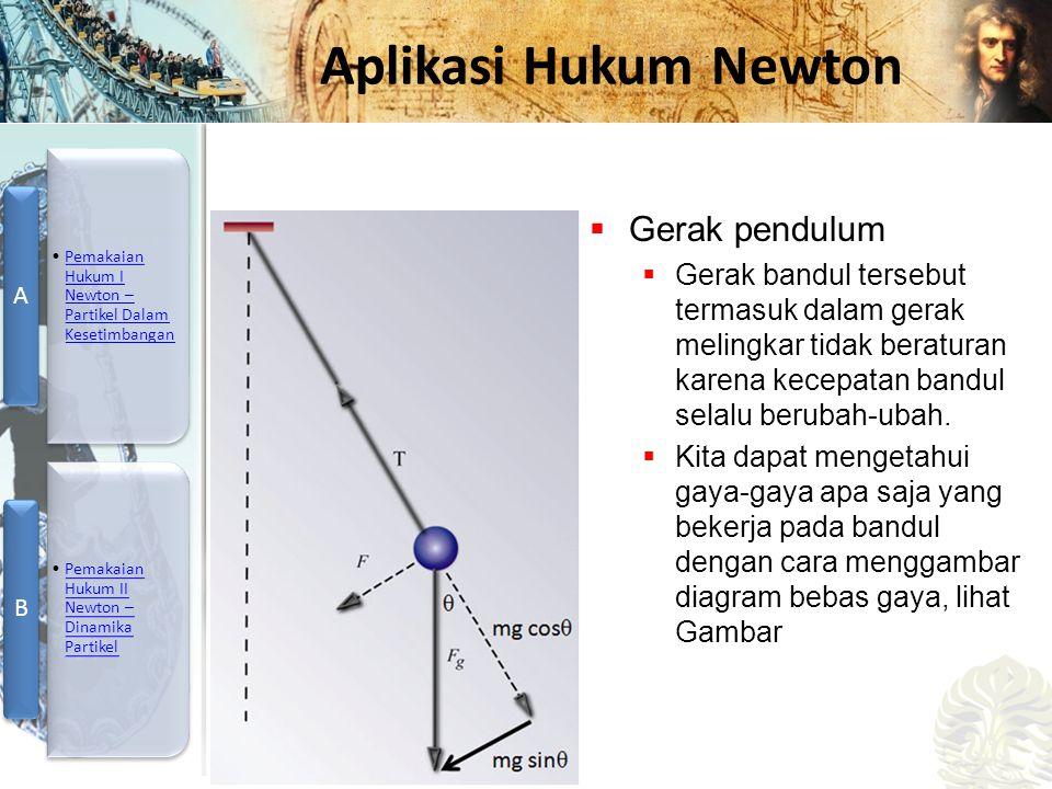 Mesin Kalor, Entropi, dan Hukum 2 Termodinamika Aplikasi Hukum Newton  Gerak pendulum  Gerak bandul tersebut termasuk dalam gerak melingkar tidak beraturan karena kecepatan bandul selalu berubah-ubah.