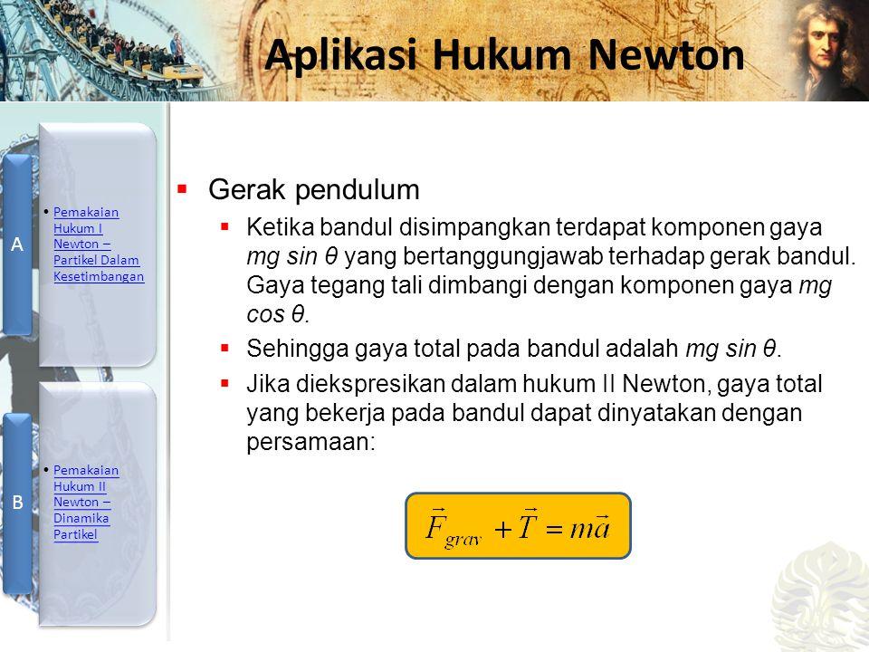 Mesin Kalor, Entropi, dan Hukum 2 Termodinamika Aplikasi Hukum Newton  Gerak pendulum  Ketika bandul disimpangkan terdapat komponen gaya mg sin θ ya