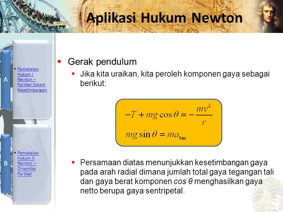 Mesin Kalor, Entropi, dan Hukum 2 Termodinamika Aplikasi Hukum Newton  Gerak pendulum  Jika kita uraikan, kita peroleh komponen gaya sebagai berikut