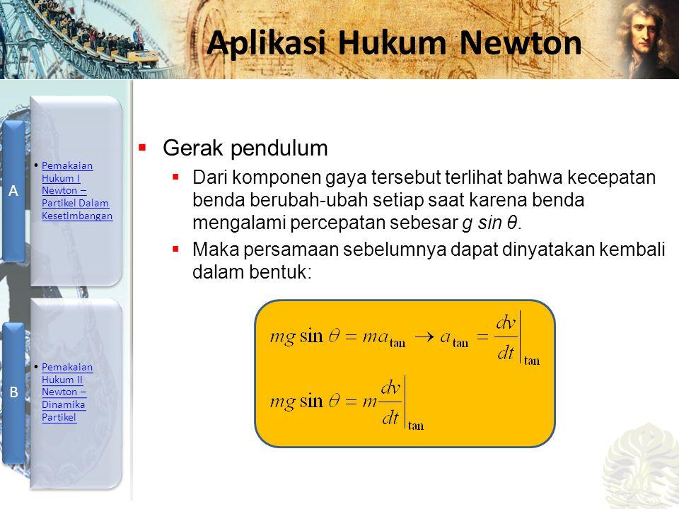 Mesin Kalor, Entropi, dan Hukum 2 Termodinamika Aplikasi Hukum Newton  Gerak pendulum  Dari komponen gaya tersebut terlihat bahwa kecepatan benda be