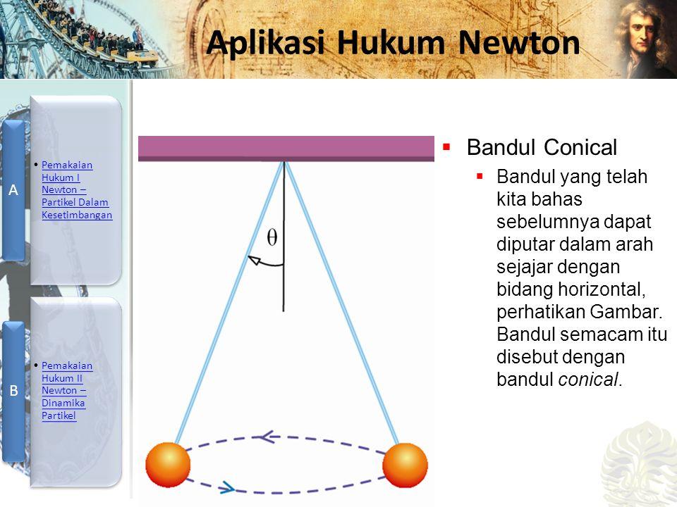 Mesin Kalor, Entropi, dan Hukum 2 Termodinamika Aplikasi Hukum Newton  Bandul Conical  Bandul yang telah kita bahas sebelumnya dapat diputar dalam a