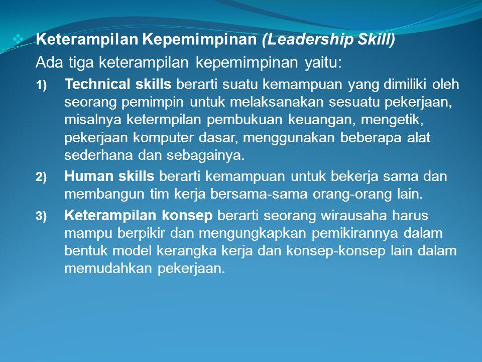  Keterampilan Kepemimpinan (Leadership Skill) Ada tiga keterampilan kepemimpinan yaitu: 1) Technical skills berarti suatu kemampuan yang dimiliki ole