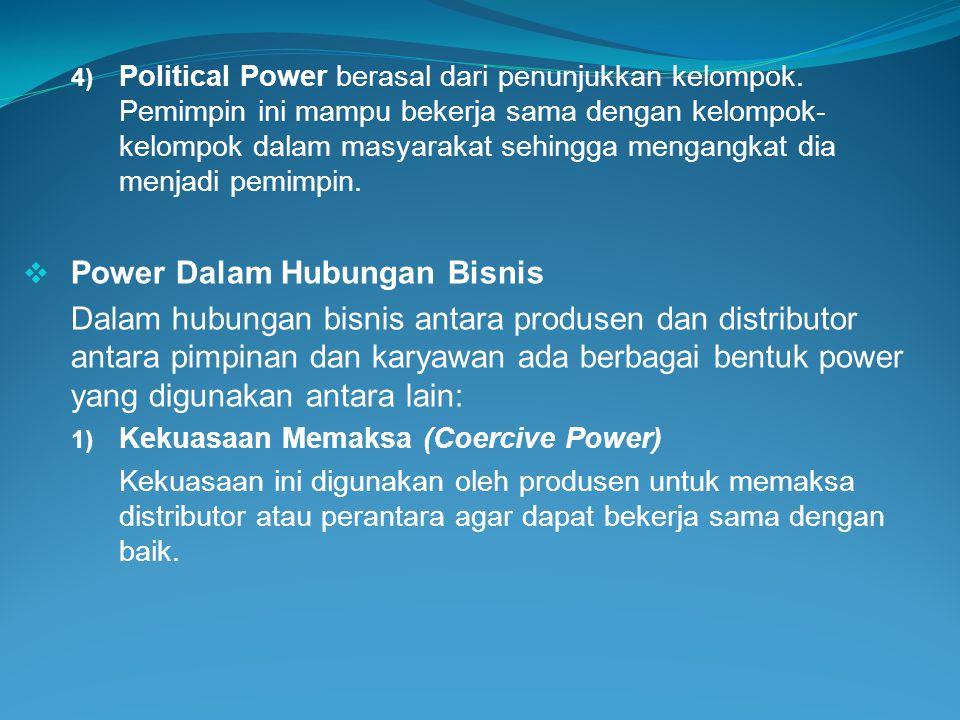 4) Political Power berasal dari penunjukkan kelompok. Pemimpin ini mampu bekerja sama dengan kelompok- kelompok dalam masyarakat sehingga mengangkat d
