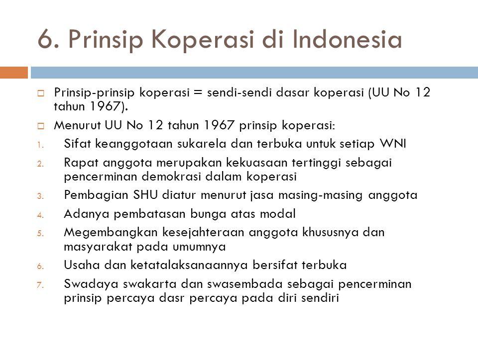 6. Prinsip Koperasi di Indonesia  Prinsip-prinsip koperasi = sendi-sendi dasar koperasi (UU No 12 tahun 1967).  Menurut UU No 12 tahun 1967 prinsip
