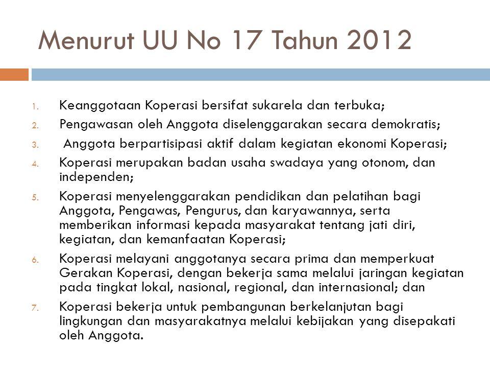 Menurut UU No 17 Tahun 2012 1. Keanggotaan Koperasi bersifat sukarela dan terbuka; 2. Pengawasan oleh Anggota diselenggarakan secara demokratis; 3. An