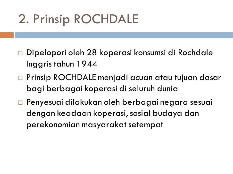 2. Prinsip ROCHDALE  Dipelopori oleh 28 koperasi konsumsi di Rochdale Inggris tahun 1944  Prinsip ROCHDALE menjadi acuan atau tujuan dasar bagi berb