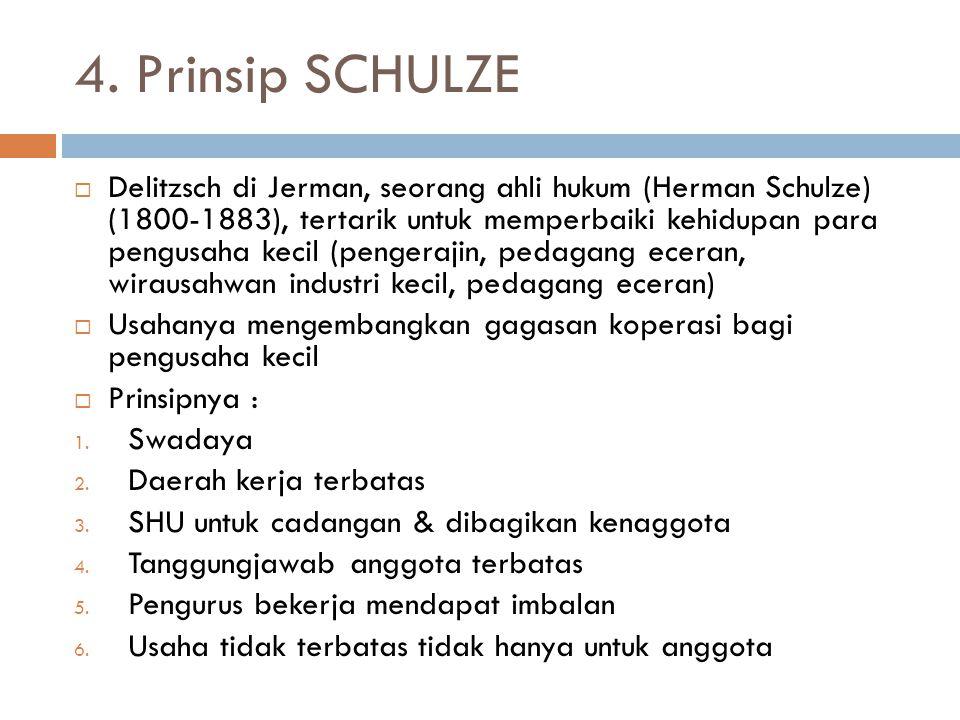 4. Prinsip SCHULZE  Delitzsch di Jerman, seorang ahli hukum (Herman Schulze) (1800-1883), tertarik untuk memperbaiki kehidupan para pengusaha kecil (