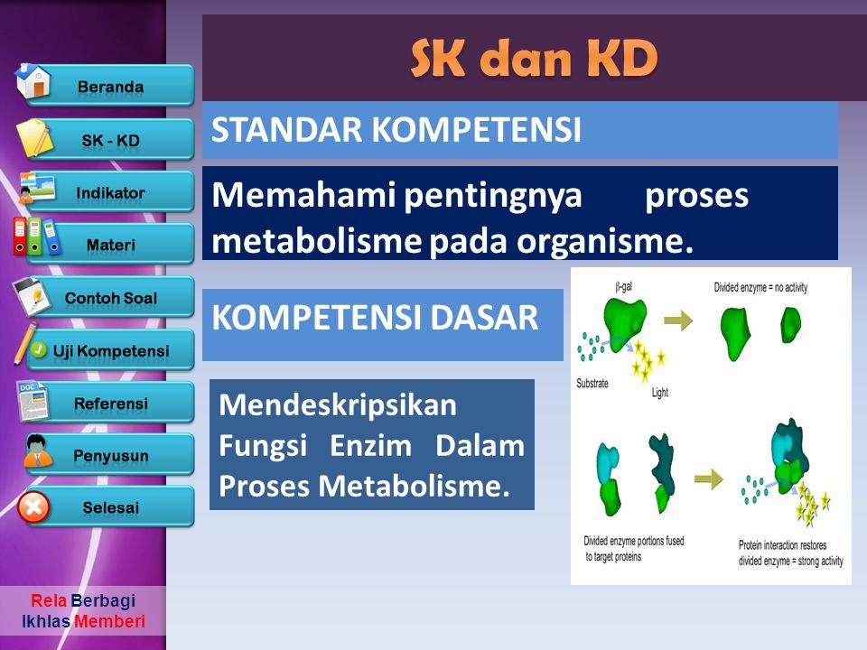 Rela Berbagi Ikhlas Memberi Memahami pentingnya proses metabolisme pada organisme. Mendeskripsikan Fungsi Enzim Dalam Proses Metabolisme. STANDAR KOMP