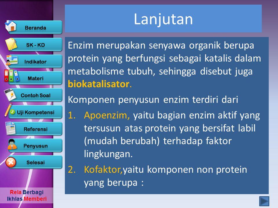 Rela Berbagi Ikhlas Memberi Lanjutan a.Ion-ion anorganik / aktivator berupa logam yang berikatan lemah dengan enzim, Fe, Ca, Mn, Zn, K, Co.