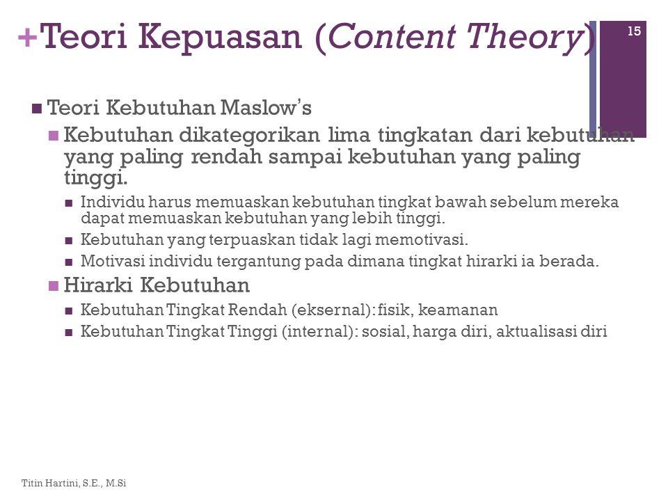 + Teori Kepuasan (Content Theory)  Teori Kebutuhan Maslow ' s  Kebutuhan dikategorikan lima tingkatan dari kebutuhan yang paling rendah sampai kebutuhan yang paling tinggi.