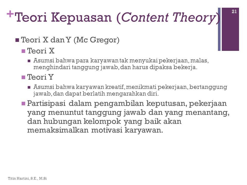 + Teori Kepuasan (Content Theory)  Teori X dan Y (Mc Gregor)  Teori X  Asumsi bahwa para karyawan tak menyukai pekerjaan, malas, menghindari tanggung jawab, dan harus dipaksa bekerja.