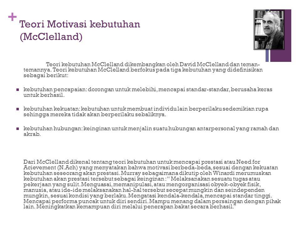 + Teori Motivasi kebutuhan (McClelland) Teori kebutuhan McClelland dikembangkan oleh David McClelland dan teman- temannya.