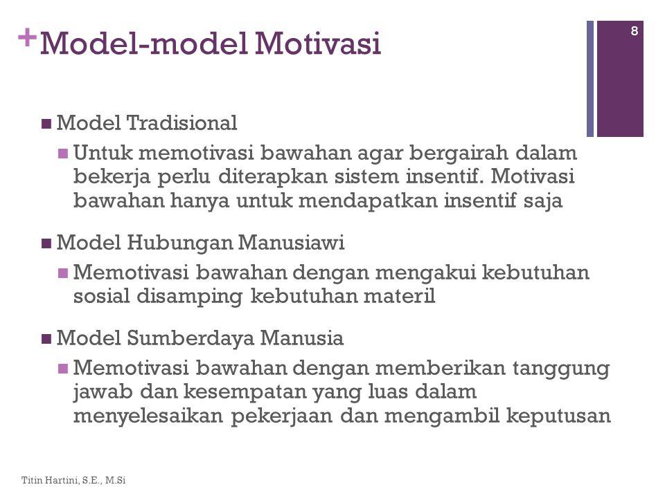 + Model-model Motivasi  Model Tradisional  Untuk memotivasi bawahan agar bergairah dalam bekerja perlu diterapkan sistem insentif.