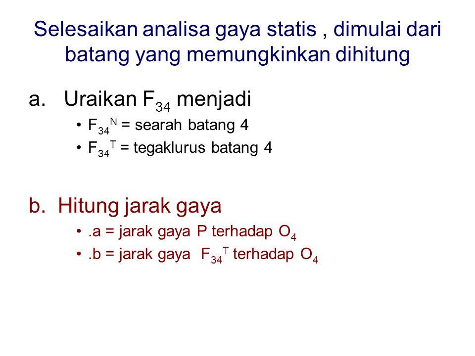 Selesaikan analisa gaya statis, dimulai dari batang yang memungkinkan dihitung a. Uraikan F 34 menjadi •F 34 N = searah batang 4 •F 34 T = tegaklurus