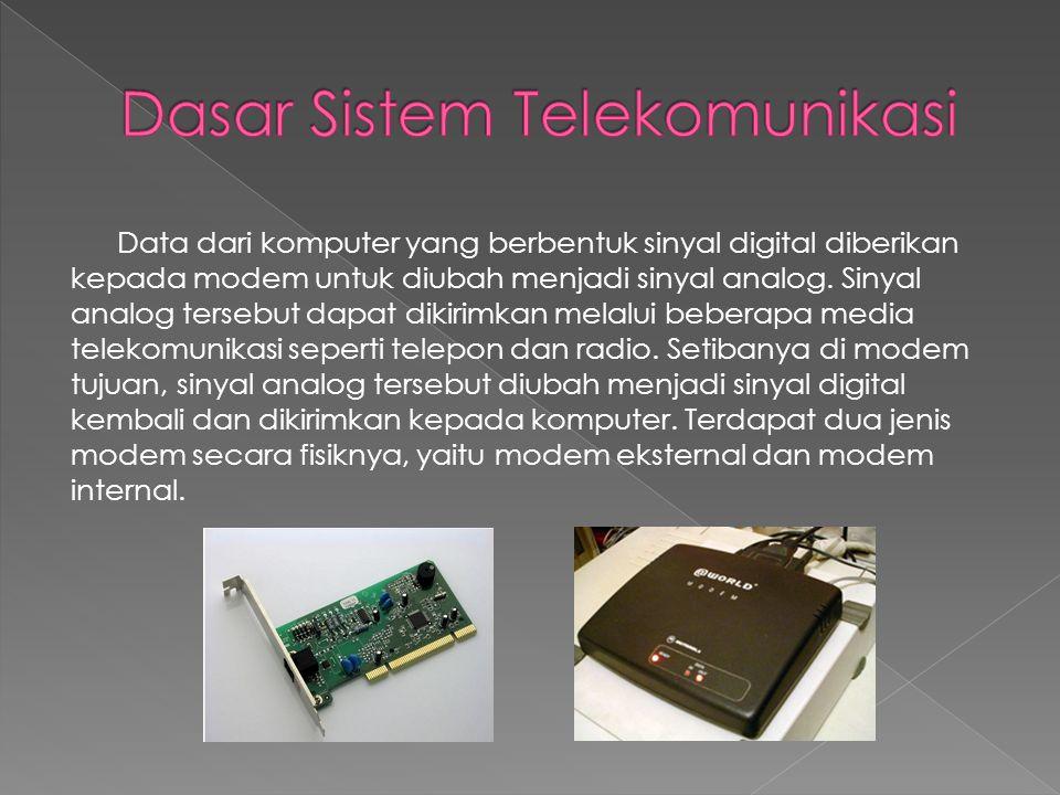 Data dari komputer yang berbentuk sinyal digital diberikan kepada modem untuk diubah menjadi sinyal analog. Sinyal analog tersebut dapat dikirimkan me