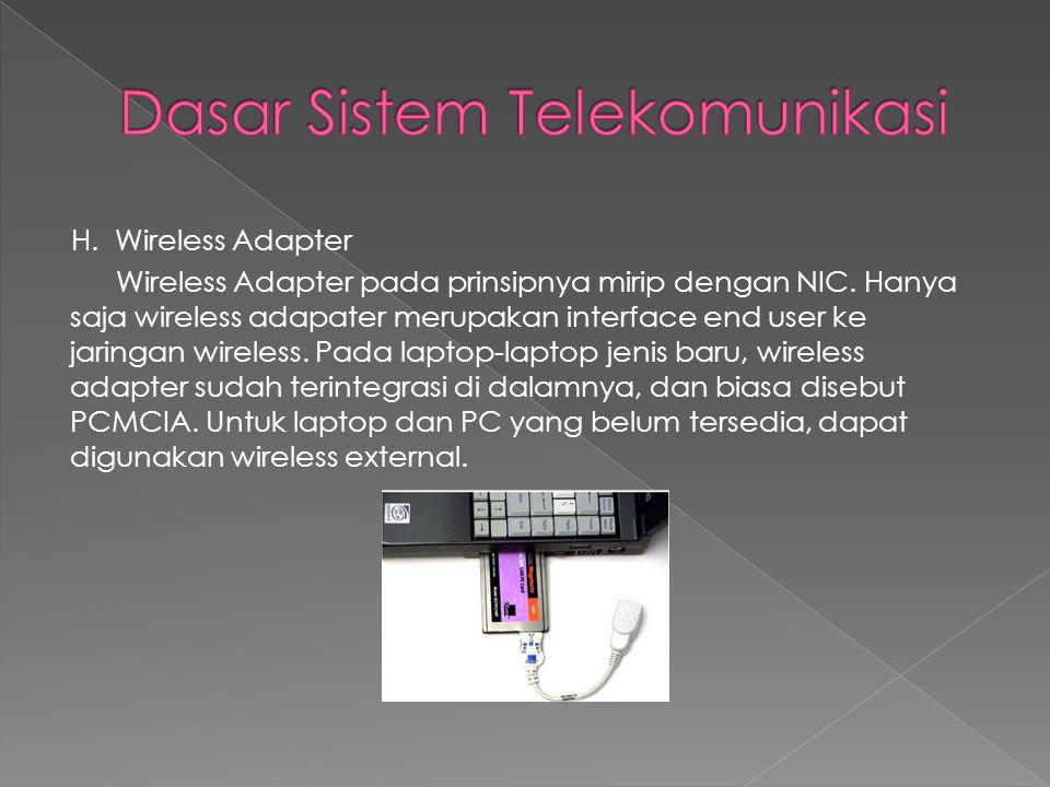 H. Wireless Adapter Wireless Adapter pada prinsipnya mirip dengan NIC. Hanya saja wireless adapater merupakan interface end user ke jaringan wireless.