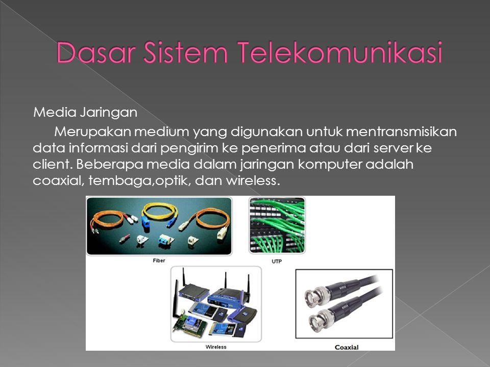 Media Jaringan Merupakan medium yang digunakan untuk mentransmisikan data informasi dari pengirim ke penerima atau dari server ke client. Beberapa med