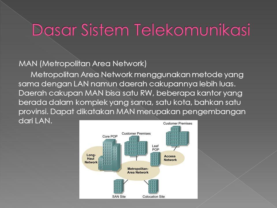 MAN (Metropolitan Area Network) Metropolitan Area Network menggunakan metode yang sama dengan LAN namun daerah cakupannya lebih luas. Daerah cakupan M