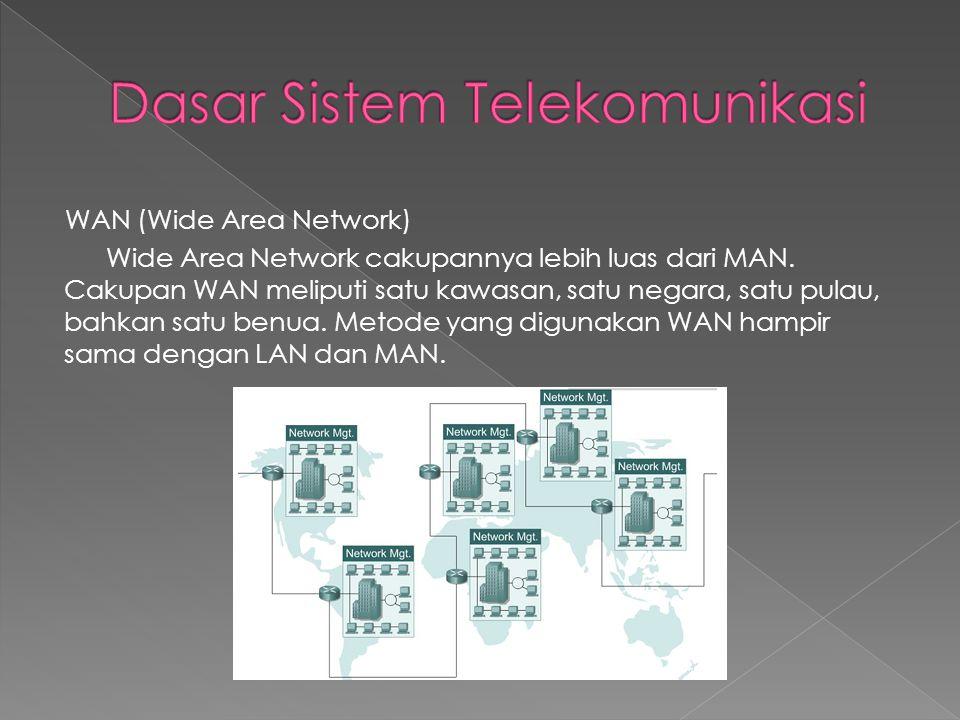 WAN (Wide Area Network) Wide Area Network cakupannya lebih luas dari MAN. Cakupan WAN meliputi satu kawasan, satu negara, satu pulau, bahkan satu benu