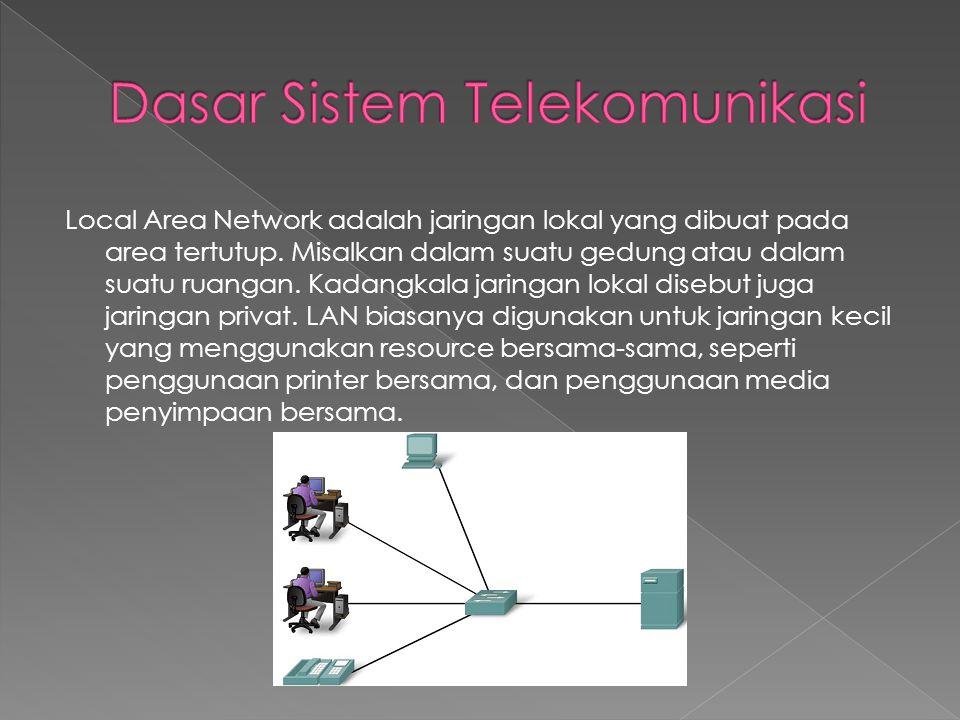Local Area Network adalah jaringan lokal yang dibuat pada area tertutup. Misalkan dalam suatu gedung atau dalam suatu ruangan. Kadangkala jaringan lok