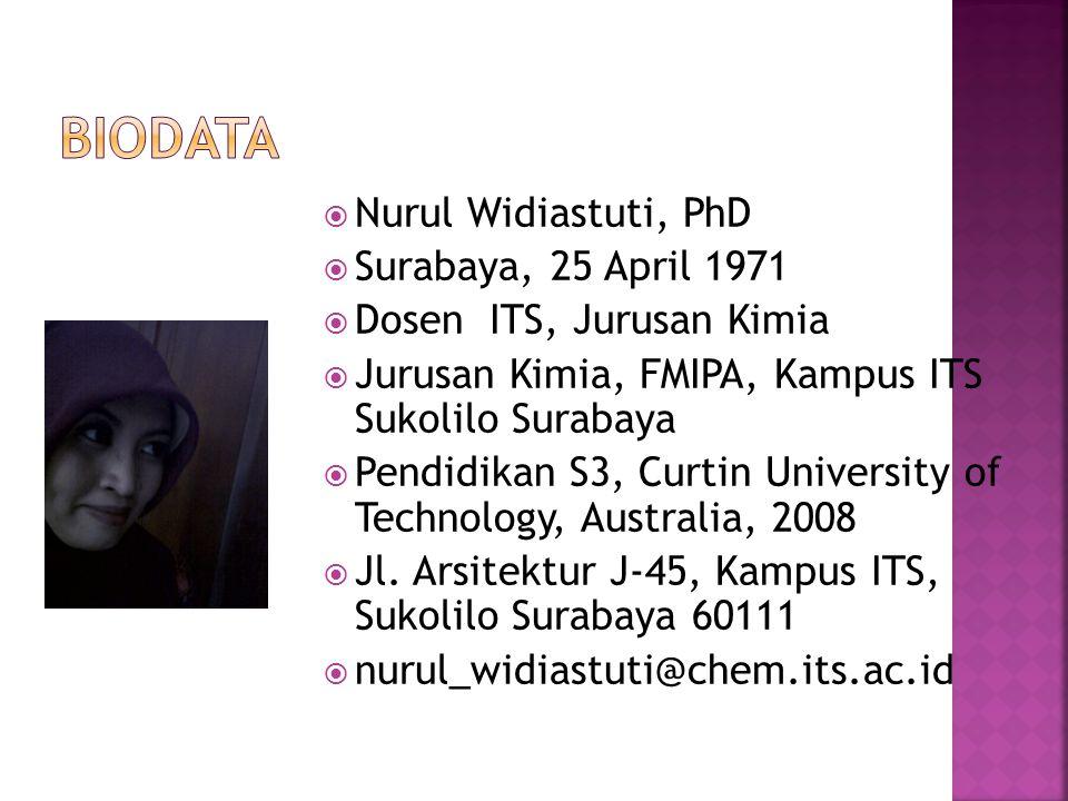  Nurul Widiastuti, PhD  Surabaya, 25 April 1971  Dosen ITS, Jurusan Kimia  Jurusan Kimia, FMIPA, Kampus ITS Sukolilo Surabaya  Pendidikan S3, Cur