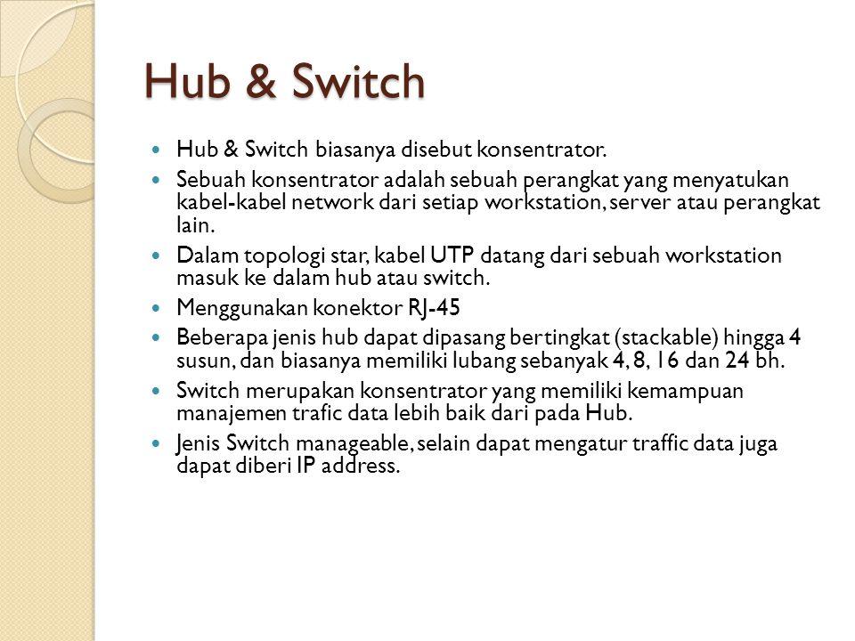 Hub & Switch  Hub & Switch biasanya disebut konsentrator.  Sebuah konsentrator adalah sebuah perangkat yang menyatukan kabel-kabel network dari seti