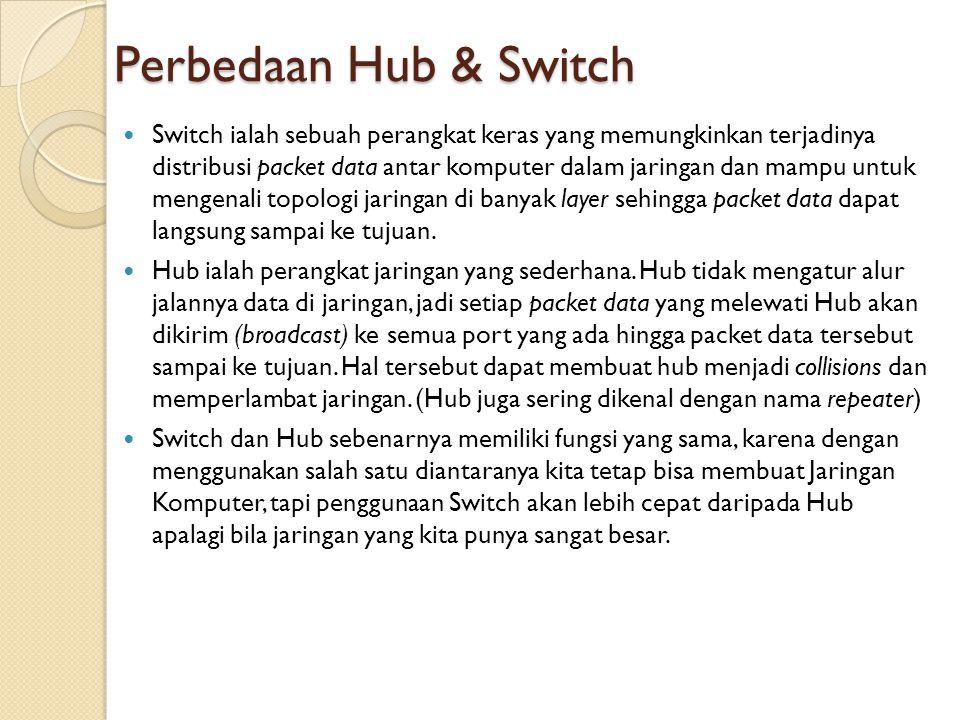 Perbedaan Hub & Switch  Switch ialah sebuah perangkat keras yang memungkinkan terjadinya distribusi packet data antar komputer dalam jaringan dan mam