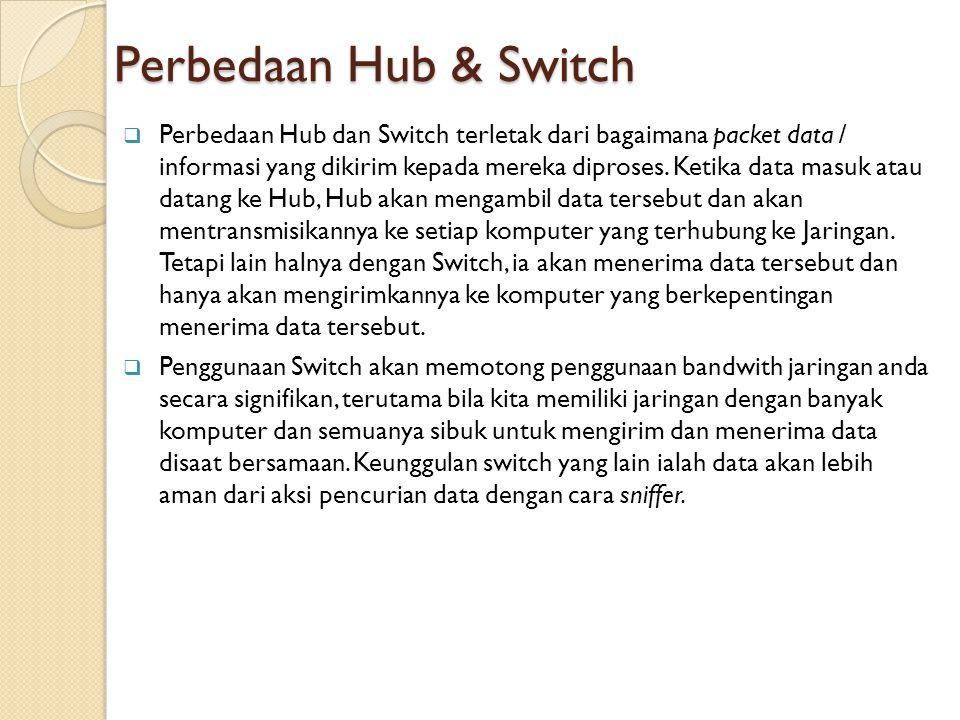 Perbedaan Hub & Switch  Perbedaan Hub dan Switch terletak dari bagaimana packet data / informasi yang dikirim kepada mereka diproses. Ketika data mas