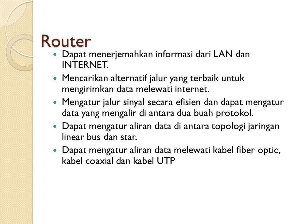 Router  Dapat menerjemahkan informasi dari LAN dan INTERNET.  Mencarikan alternatif jalur yang terbaik untuk mengirimkan data melewati internet.  M