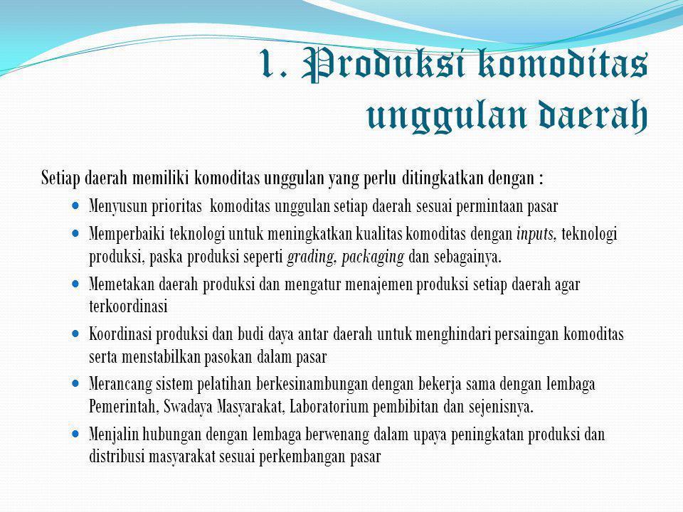 1. Produksi komoditas unggulan daerah Setiap daerah memiliki komoditas unggulan yang perlu ditingkatkan dengan :  Menyusun prioritas komoditas unggul